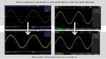 Bild 1: Zwei Oszilloskope mit gleicher Bandbreite und vergleich¬barem Eigenrauschen sind an das gleiche Signal angeschlossen. Die Bildschirme oben zeigen das Gerät eines renommierten Herstellers mit einer sehr dünnen Messkurve, die detaillierter ersc