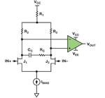 Bild 1: Schneller, rauscharmer In¬strumentenverstärker mit zwei angepassten JFETs (J1 und J2)