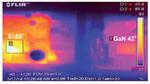 Temperaturunterschied zwischen GaN Switch und Si-IGBT in einem 400-W-Umrichter zur Motorsteuerung.