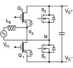 Bild 1: Eine Totem-Pole-Schaltung, die entweder als PFC-Schaltung oder in der anderen Energieflussrichtung als Wechselrichter eingesetzt werden kann. Diese Schaltung eignet sich als effizientes Frontend eines bidirektionalen Onboard-Ladegeräts für El
