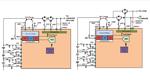 Bild 2: Cut-off-FET-Schaltbild für eine einzige Verbindung zwischen der Last und dem Ladegerät (links) und eine Verbindung über zwei Anschlüsse, die gleichzeitiges Laden und Entladen erlaubt (rechts)