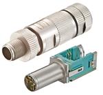 Bild 2: Bei dieser M12-Steckervariante wird der »preLink«-Anschlussblock mit dem Kabel in die türkisfarbene Wanne eingelegt – fertig ist der Kabelanschluss