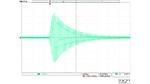 Bildschirmfoto eines Oszilloskops mit der Darstellung einer wenig gedämpften Schwingung.