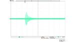 Bildschirmfoto eines Oszilloskops mit der Darstellung einer stark gedämpften Schwingung.