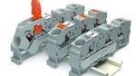 Zur Hannover Messe Industrie präsentierte WAGO die bewährten Reihenklemmen Topjob S mit zwei neuen Betätigungsvarianten: Hebel und Drücker.  Die Klemmstelle der neuen Reihenklemmen mit Drücker wird dabei mit einem frei wählbaren Werkzeug geöffnet. D