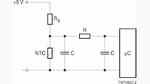 Bild 2. Bei zu hohen Temperaturen drosselt der NTC die Versorgungsspannung des Mikrocontrollers.