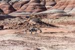 Als robotische Testplattform dient in Marokko der hybride Schreit- und Fahrrover SherpaTT des DFKI.