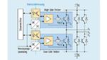 Ein Brückenzweig in einer dreiphasigen IGBT-Leistungsendstufe mit jeweils separaten DC/DC-Wandlern und Isolatoren