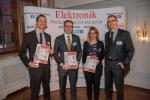 Die Gewinner der Kategorie Sensorik (v.l.n.r.): Stefan Thiele (Sensirion), Leif Friedrich (TDK), Christina Frick, Daniel Schmid (Baumer)...