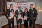 Die Gewinner der Kategorie Sensorik (v.l.n.r.): Stefan Thiele (Sensirion), Leif Friedrich (TDK), Christina Frick, Daniel Schmid (Baumer)