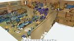 """3D-Modell einer Produktionshalle. Mittels der """"Click & Build""""-Technik können solche 3D-Objekte einfach erstellt werden."""