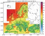 Die Graphik zeigt das langjährige Mittel der Windgeschwindigkeit (1989-2018) in 100 m Höhe für Europa.