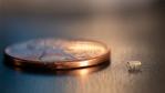 Größenvergleich des Micro-Borsten-Bots mit einem Penny...