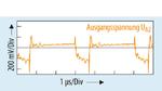 Am Ausgang UA2 zeigt die Spannungswelligkeit im Betriebszustand 5 mit UA2 = –15,41 V an RL = 77 Ω und  einem Laststrom von IL = 200 mA höhere negative Spitzenwerte