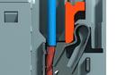 Durch eine Feder wird der feindrähtige Leiter nach dem Hineinstecken rüttelsicher festgeklemmt.