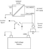 Bild 5. Stromversorgung eines High-Side-Batterie-Stromsensors mit dem RAQ-05055.
