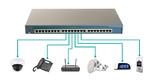 Beispiel für ein PoE-System mit der Stromversorgungseinheit (PSE) oben und den zu versorgenden Endgeräten (PD) unten.