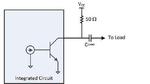 Bild 1. Typische Ausgangsstufe eines PLL-ICs mit offenem Collector, der extern über einen 50-Ω-Widerstand mit einer positiven Betriebsspanung verbunden wird.
