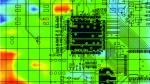 Bild 2. 2D-Messung der EM-Ausstrahlung. Die Farbcodierung gibt die Feldstärke an....