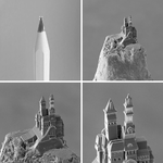 Beispiel aus dem NanoOne: Ein komplex modelliertes Schloss mit einer Gesamtgröße von nur 0,2 Millimetern wurde in weniger als sechs Minuten auf die Spitze eines Bleistifts gedruckt.