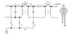 Im vereinfachten Stromversorgungssystems ist der Pfad für den Patientenableitstrom über C4 und C5 dargestellt. C5 stellt dabei die Koppelkapazität des DC/DC-Wandlers dar, die sehr klein ist und eine hohe Impedanz aufweist. Dadurch wird der Ableitstro