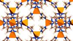 Das poröse Netzwerk von ZIF-67: Die Metallzentren aus Kobalt (Pyramiden) sind über Methylimidazolat (Stäbchen und Ringe) miteinander verbunden.