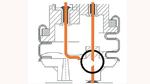 Der Anschlussdraht reißt an der eingekerbten Stelle, wenn sich der Deckel des Kondensators durch Überlast wölbt