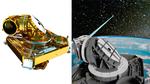 Das Laser-Terminal LCT 135 (links der innere Aufbau) von Tesat-Spacecom überträgt Daten per Laser von Satellit zu Satellit (rechts).
