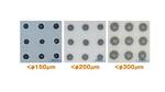Verschiedene Punktgrößen, die mit dem Mikrodosiersystem Vermes MDS 1560 und der Genma winDot.Lötpaste dosiert wurden.