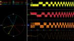 Leistungsmessung: An 3 Phasen wird jeweils Strom und Spannung gemessen. Links ist die Phasenbeziehung gezeigt, rechts die Strommessung mit Mathematikfunktion (ganz unten).
