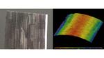 Optisch unkooperatives Bauteil: RGB-Farbfoto (links) und 3D-Messergebnis im SWIR-Spektralbereich (rechts)
