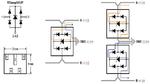 Interne Schaltung der TVS-Diode TClamp3602P [2] (links) mit den möglichen Schaltungsvarianten (rechts)