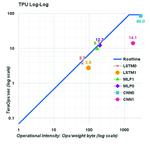 TPUv1 Performance-Kontur diverser Netzwerk-Topologien.