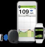 Das CGM-System besteht aus einem einsetzbaren Sensor, einem abnehmbaren und aufladbaren Smart Transmitter und einer App.