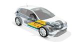 Elektrofahrzeug mit HV-Batterie (schematische Temperaturverteilung).