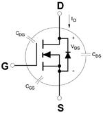 Schaltbild eines N-Kanal-MOSFETs mit parasitären Kapazitäten