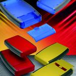 Handgehäuse in Rot, Blau, Schwarz und Gelb