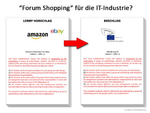 Freie Wahl des Standortes für Unternehmen: Das so genannte Forum Shopping. (Bild: Europe vs Facebook / LobbyPlag)