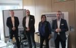 Das Sysob-Team stellt sich den Gästen vor: Florian Bock, Thorsten Leckebusch, Sabine Suttner und Thomas Stahl (Foto: CRN)...