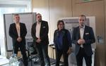 Das Sysob-Team stellt sich den Gästen vor: Florian Bock, Thorsten Leckebusch, Sabine Suttner und Thomas Stahl (Foto: CRN)