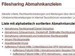 Unter www.wbs-law.de/wurden-sie-auch-wegen-filesharings-abgemahnt ist eine Liste abmahnender Anwälte zu finden. © Hersteller / Archiv